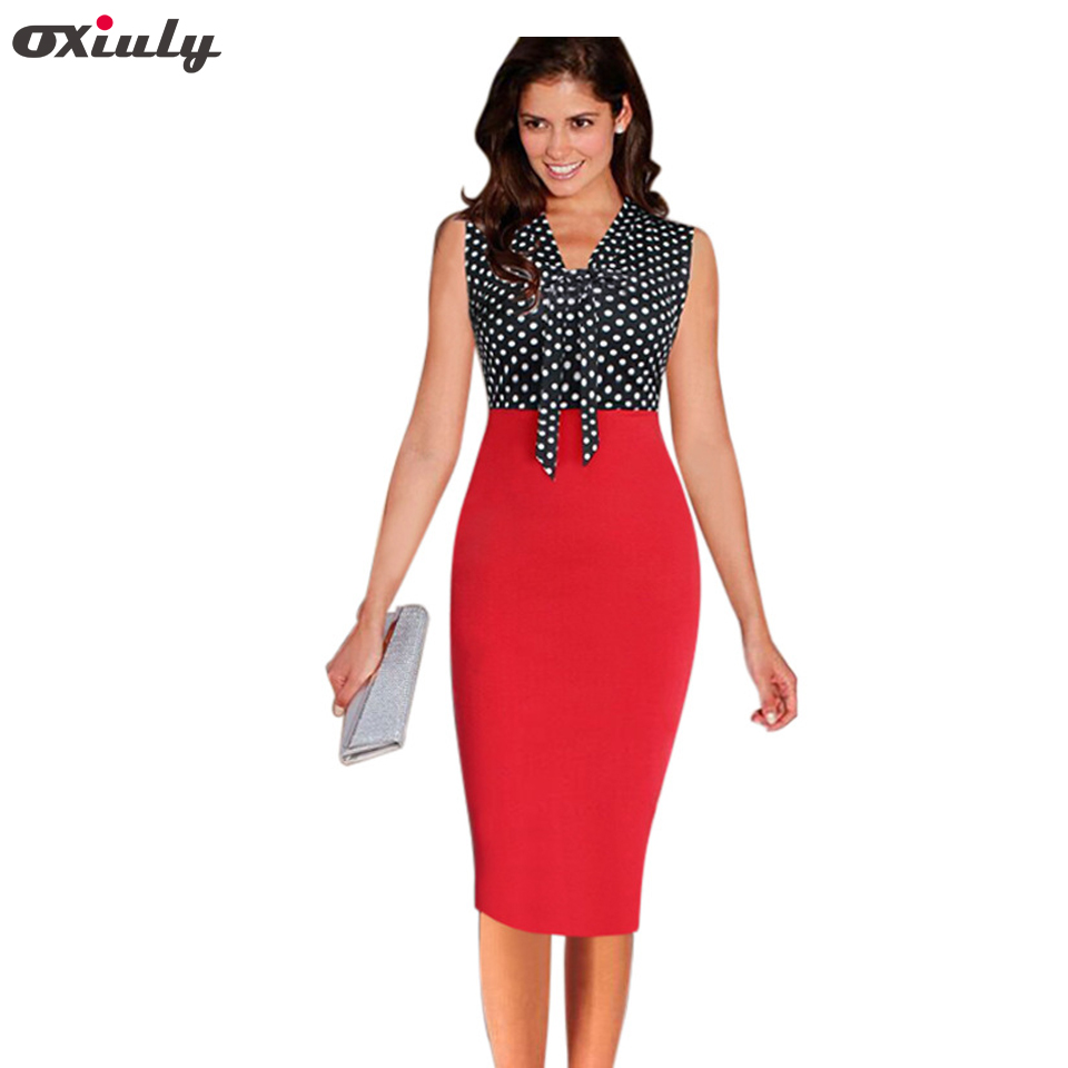 1c9623e799766 Oxiuly Women Polka Dot Print Dresses Summer Work Pencil Dress Black  Patchwork White Bow Office Knee Length Sheath Dress Female
