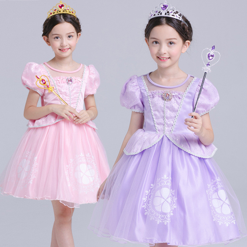 Children Halloween Clothes Girl Dress Princess Sofia Costume Kids Birthday Party Bling Fancy Tutu Dress Clothing 10 Years children girl tutu dress super hero girl halloween costume kids summer tutu dress party photography girl clothing