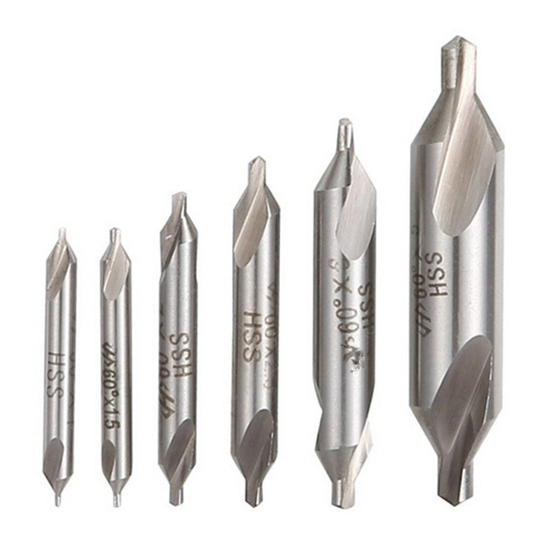 5 Pcs 3.0MM 60 Degree Bit HSS Combined Center Drills Countersinks Set Tool