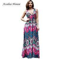Azalea House Sexy Women Dress Deep V Neck Backless National Printing Maxi Length Bohemian Beach Dress
