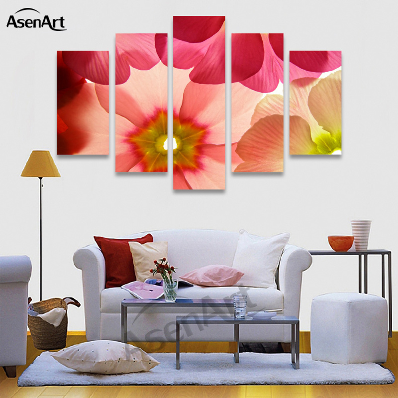 5 Panel Wall Art Canvas Prints Artwork Red Flower Painting Picture For Living  Room Bedroom Wall Decor Unframed