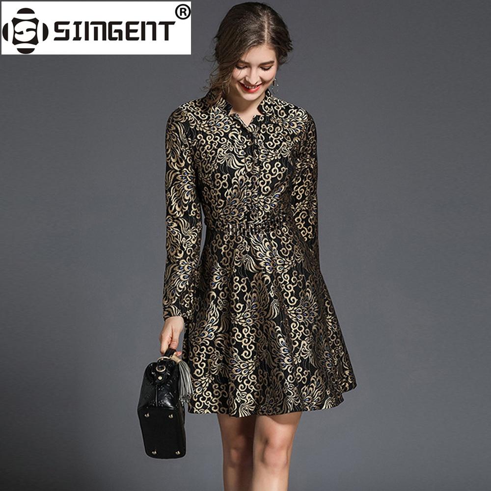 Simgent Women Winter Thick High Quality Vintage V Neck Jacquard Long Sleeve Dress Vestidos Robe Femme