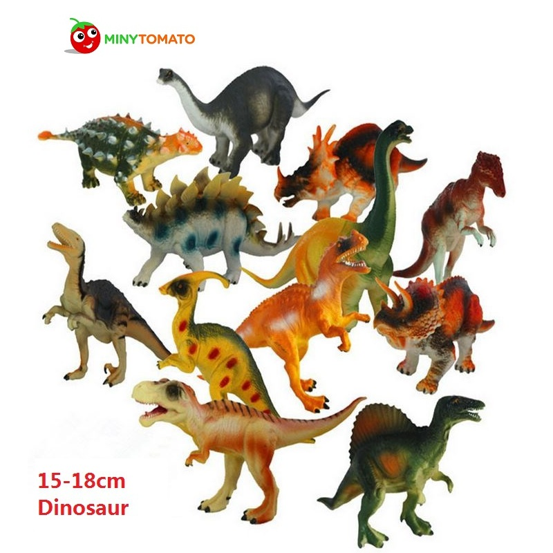 Free Ship 12pcs/lot 15-18cm Dinosaur Plastic Jurassic Play Model Action & Figures T-REX DINOSAUR Toys for Children With no Box 12pcs set children kids toys gift mini figures toys little pet animal cat dog lps action figures