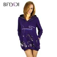 BFDADI Kadın Giysileri Cepler Uzun Baskı 2016 Yeni Baskılı Kadın T Shirt Kazak Kapüşonlu Giyim Rahat Artı Boyutu Tops 9301