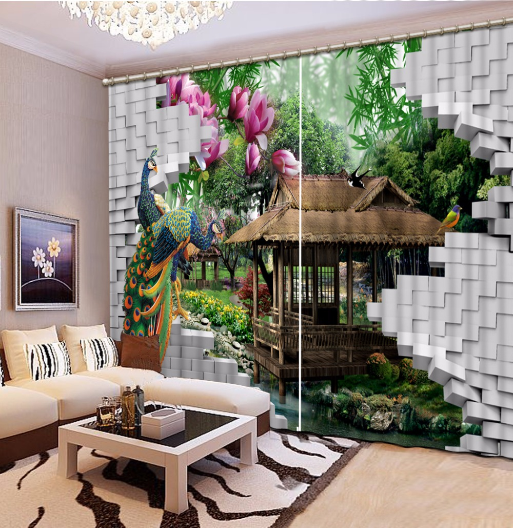 modern curtains customize 3d curtains Peacock Lodge Landscape curtains for  living room kitchen blackout curtains -in Curtains from Home & Garden on ...