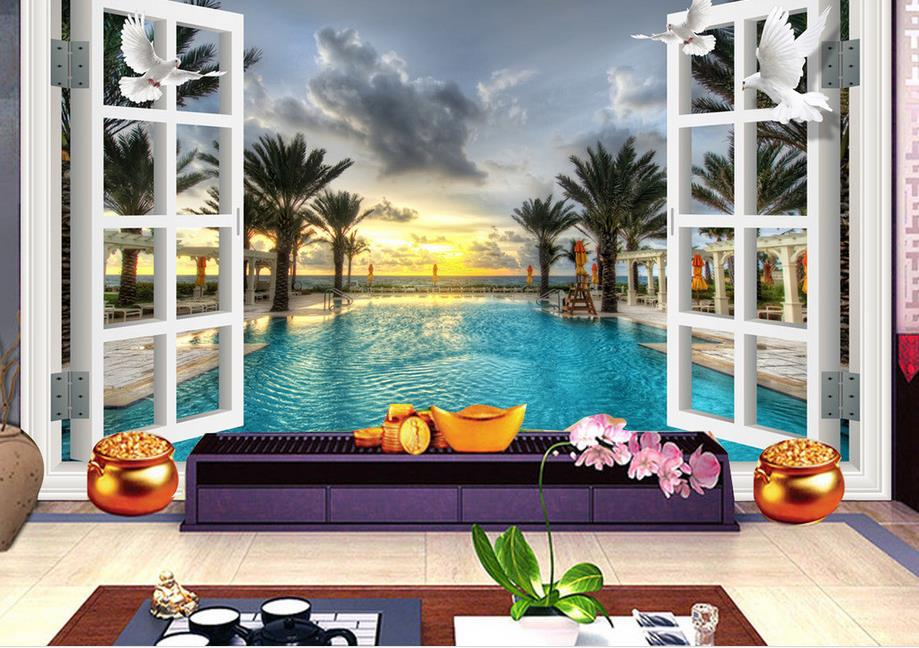 Wallpaper Photo Landscape 3D Stereo TV Background 3d Room Wallpaper