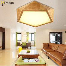 2017 Wooden LED Ceiling Lights For Living Room luminaria abajur Indoor Lights Fixture Ceiling Lamp For Home Decorative Lampshade
