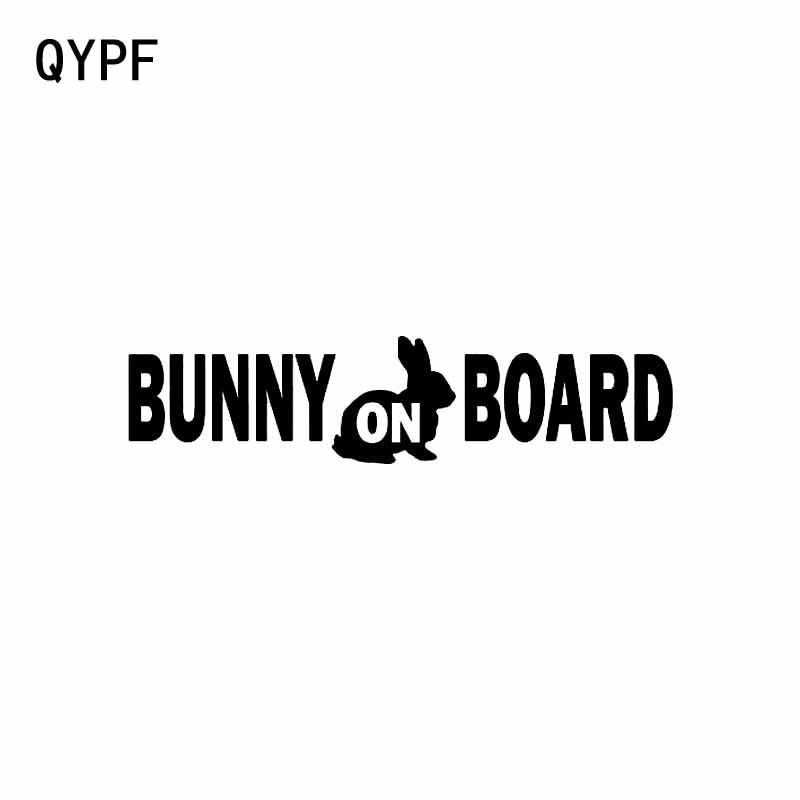 QYPF 14CM*3.3CM BUNNY ON BOARD Black Silver Sticker Vinyl
