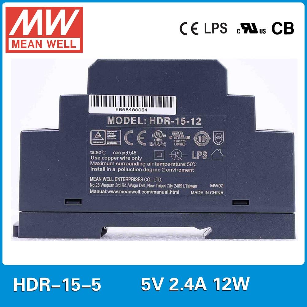 Original MEAN WELL HDR-15-5 2.4A 12W 5V meanwell ultra slim step shape DIN Rail Power Supply HDR-15 original mean well hdr 100 24 3 83a 24v 92w meanwell ultra slim step shape din rail power supply dc output adjustable