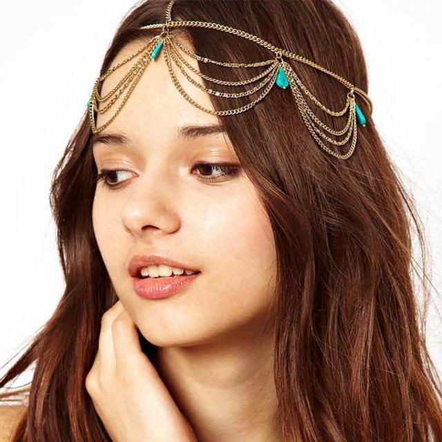 Vintage Green Rhinestone Women Tassel Hair Chain Metal Prom