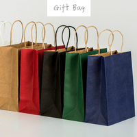 50pcs Fashionable Kraft Paper Gift Bag with Handle/shopping Bags Christmas Brown Packing Bag 21X15X8cm