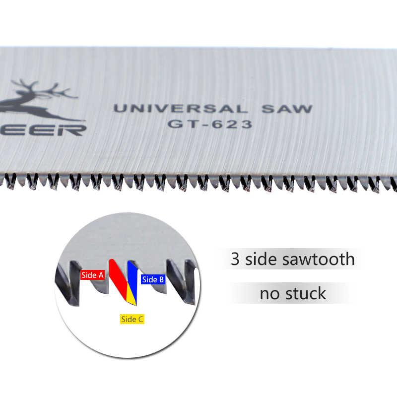 Serra de mão sk5 3-edge japonês viu 65 # manganês aço dobrável serra de madeira para tenon corte jardim poda carpintaria
