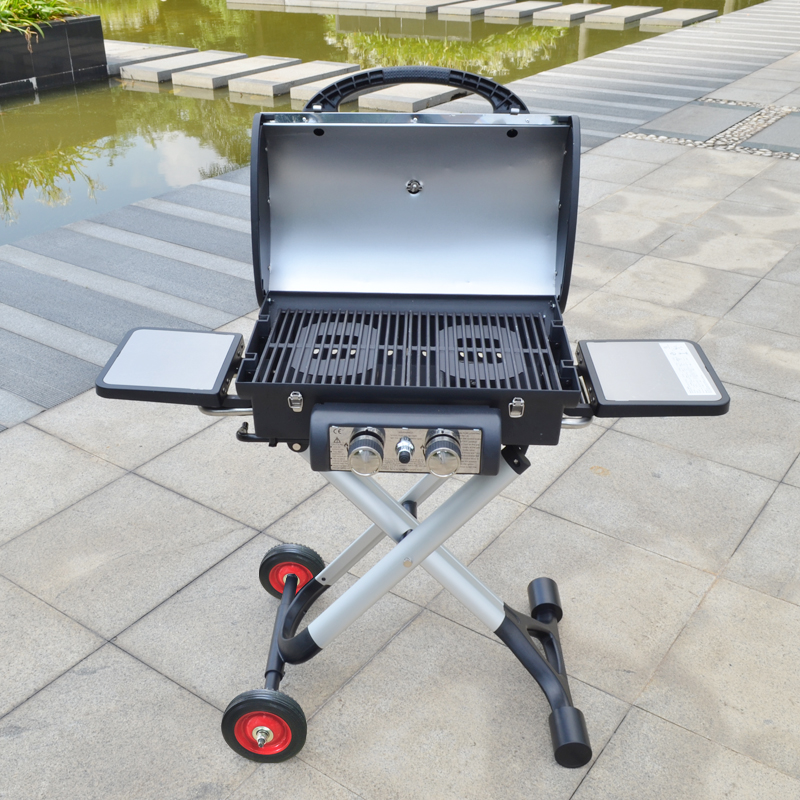 Outdoor portable household gas stove,GaiaBBQ-B175, 1 pcs, Stainless steel folding oven grill,Folding,2Stoves