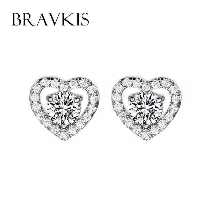 Bravekiss Crystal Heart Love Earrings Stud Zircon Earing Women White Gold Color Studs For S Brincos Bijoux Bue0077 In From