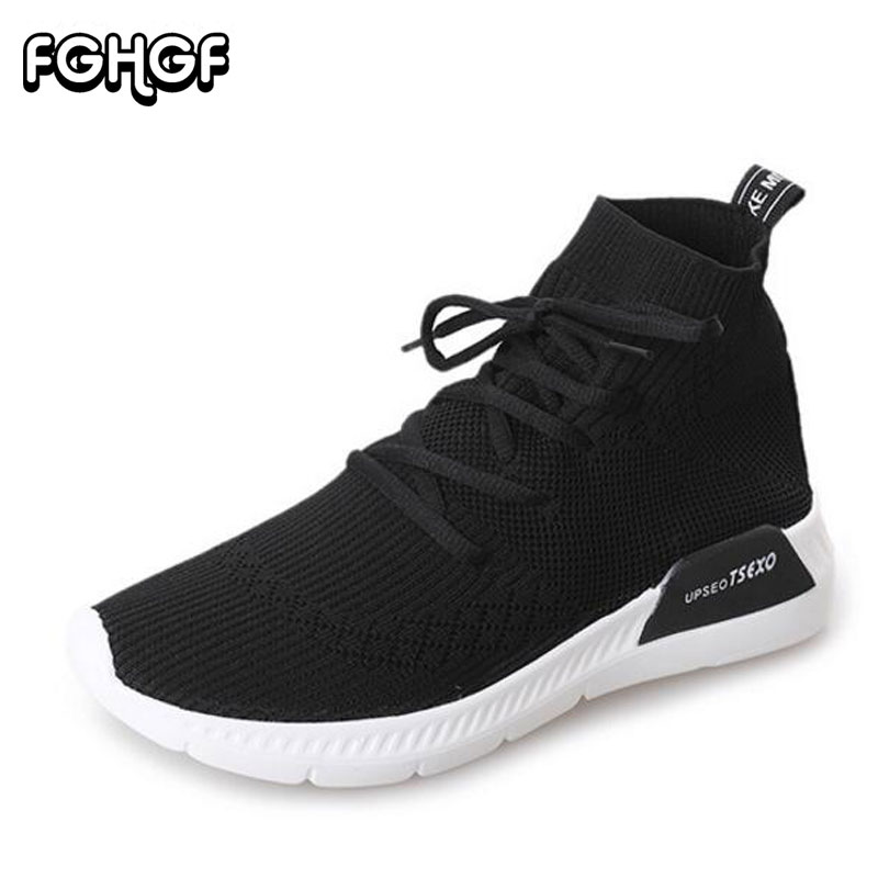 A WomenSock Ankle Boots Fashion Breathable Stretch Fabric Socks Shoes Sneakers Womans Wedge Platform Shoes Mujer M186
