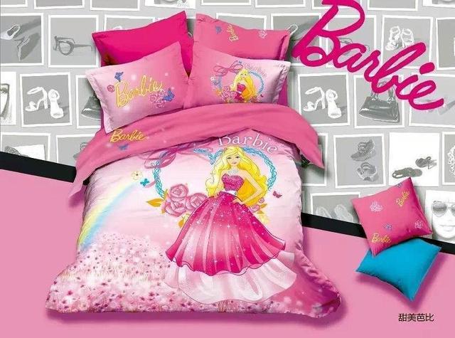 3d pink kids girls cartoon barbie bedding comforter sets bedroom sets children for queen size. Black Bedroom Furniture Sets. Home Design Ideas