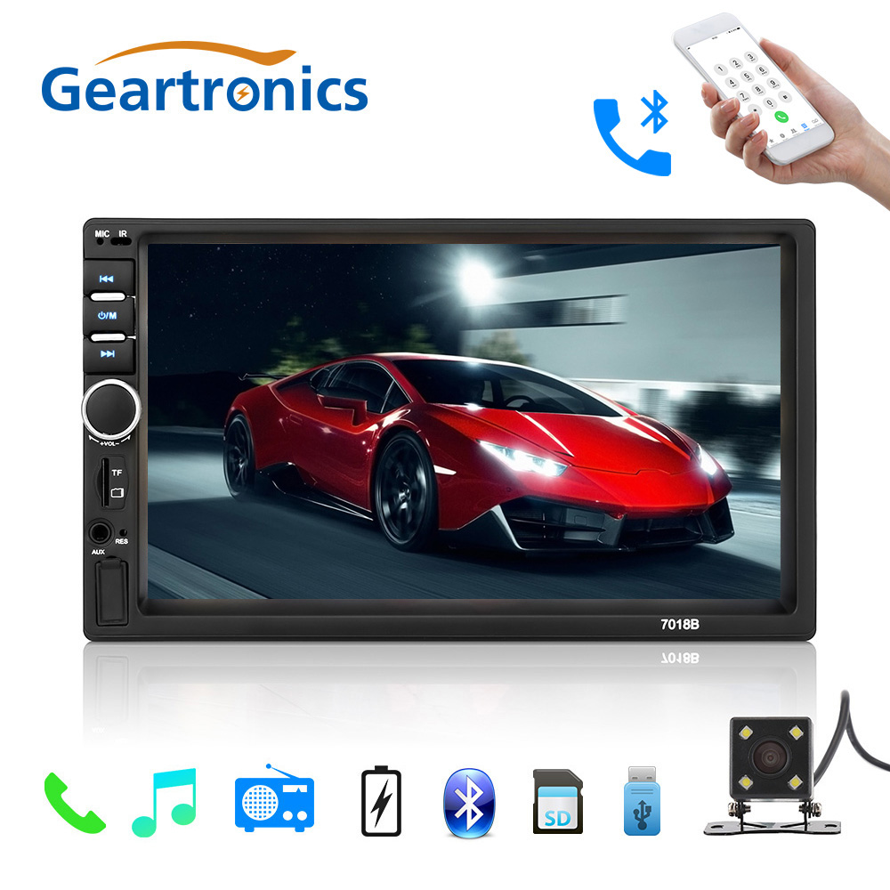 цена 2017 2 Din 7'' inch LCD Touch screen car radio player multiple Languages Menu BLUETOOTH hands free No rear view camera car audio