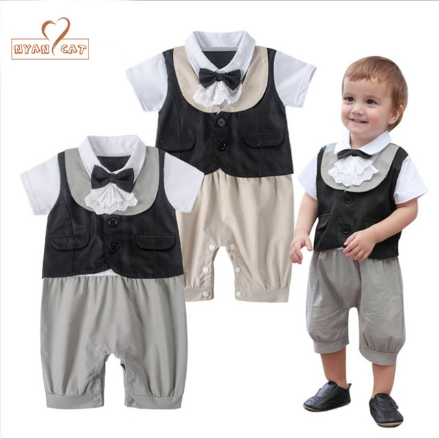 a8ec2859a41 Nyan Cat Baby boy clothes summer infant gentleman bow tie short sleeves  grey beige lace romper