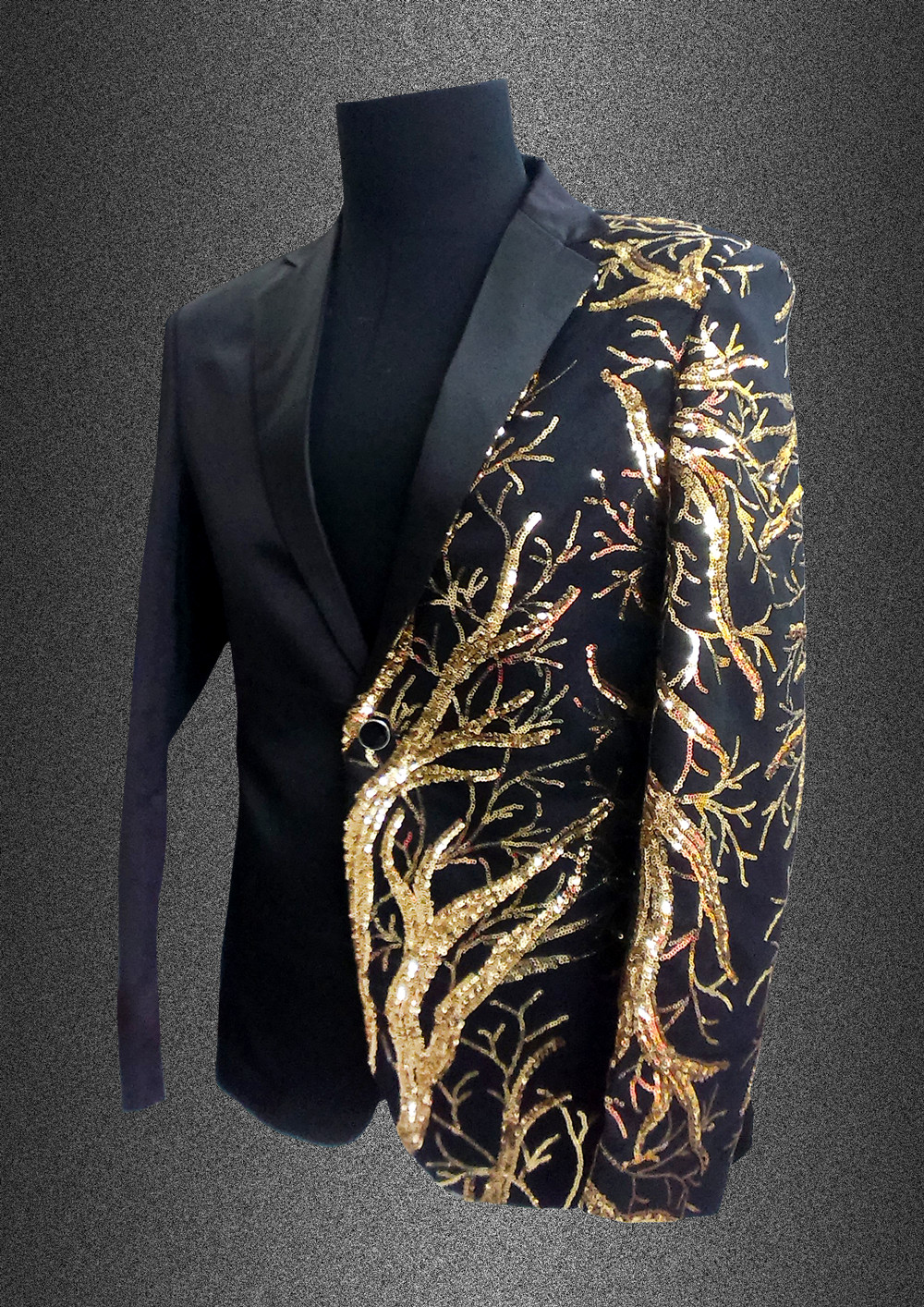 singer blazer Male formal dress costume men's clothing paillette suits clothes for dancer star performance nightclub party bar 3