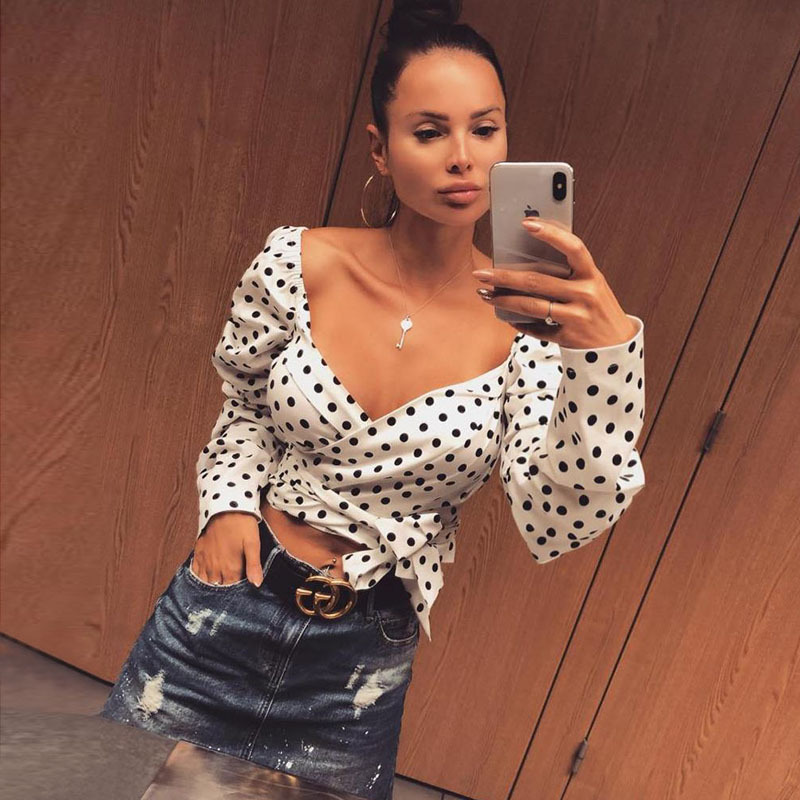 Flymokoii Woman Summer Polka Dot Crop Top Sexy V neck Tank Tops Casual 2019 Autumn Female Short Tie White Loose Camis Tops in Tank Tops from Women 39 s Clothing