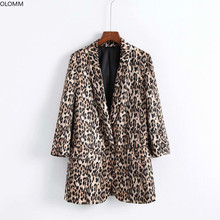 Women's Blazer 2019 Autumn New Fashion Leopard Print Long Sleeve Double Pocket Suit Casual Women's Jacket men s casual blazer leopard print turndown collar long sleeve slim fit casual suit