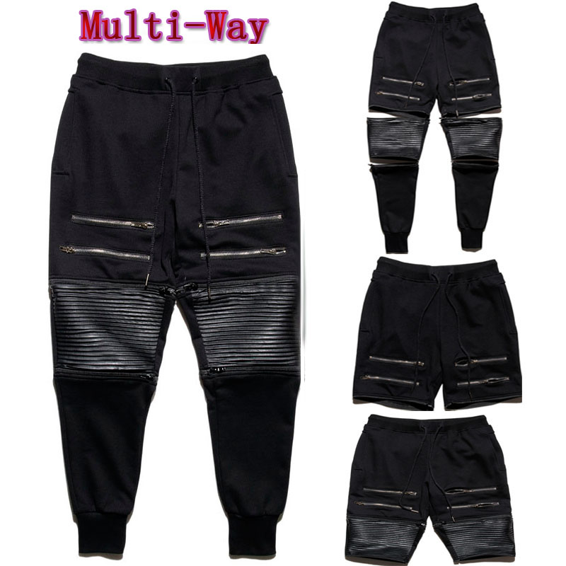 Multi Way Pants! Men's Casual Jogger PU Leather Quilted Zipper ... : mens quilted pants - Adamdwight.com