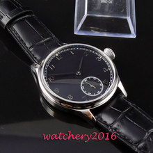 2019 NEW Arrive 44mm Sterile Black Dial Leather Band Top Brand Luxury 17 Jewels 6497 Hand Winding Mechanical Mens Wristwatches