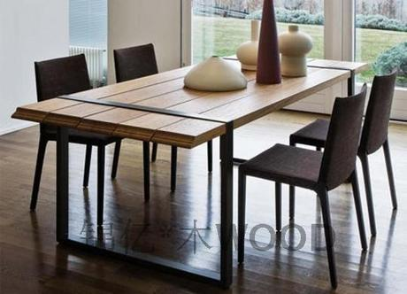 Industrie lourde loft pays d 39 am rique bois table for Solde table a manger