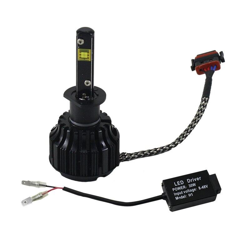 ФОТО Led Car Headlight H1 Real Super Bright 8-48V 60W/set H1 LED Bulbs For Cars Light Running Decrees Led Chip White Xenon lamp
