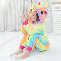 Children Sleepwear Rainbow Unicorn Cosplay Kigurumi Costume Halloween Carnival New Year Cartoon Onesie Pajamas