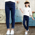 2017 Spring New Baby Girl Jean Pants Solid Color Elastic Waist Kid Jeans Children Autumn High Quality Denim Trousers Bottoms