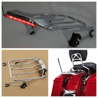 Chrome Air Wing Luggage Rack w/ LED Light for Harley Touring Ultra Classic FL FLTR FLHX Road King Street Glide