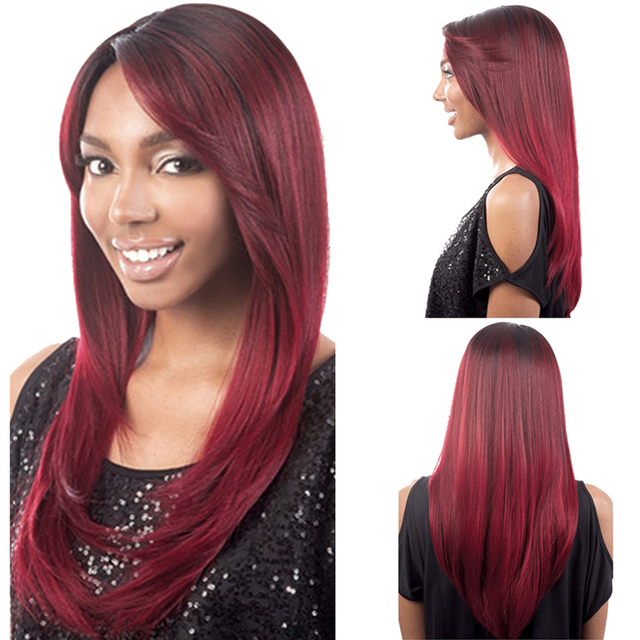 70cm Wire Red Ombre Wig Long Curly Oblique Fringe Women Synthetic Wig  Inside Hairnet Fashion Natural Hair Women's Wigs
