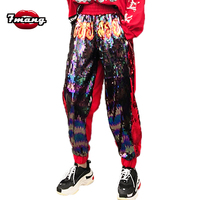 7mang 2018 new street fire sequins harem cross pants stretchy waist loose full party punk pants
