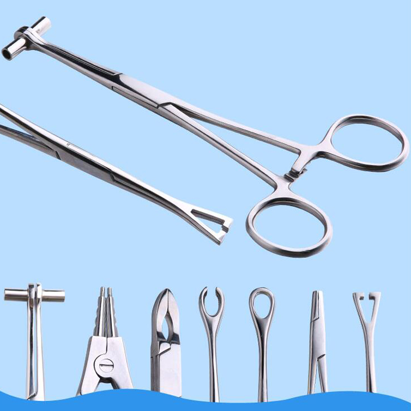 Surgical Steel Body Piercing Kits Ear Nose Lip Navel Tongue Septum Forcep Clamp Pliers Tool For Lip Nipple Nose Studs Rings 100% High Quality Materials Tattoo & Body Art Beauty & Health
