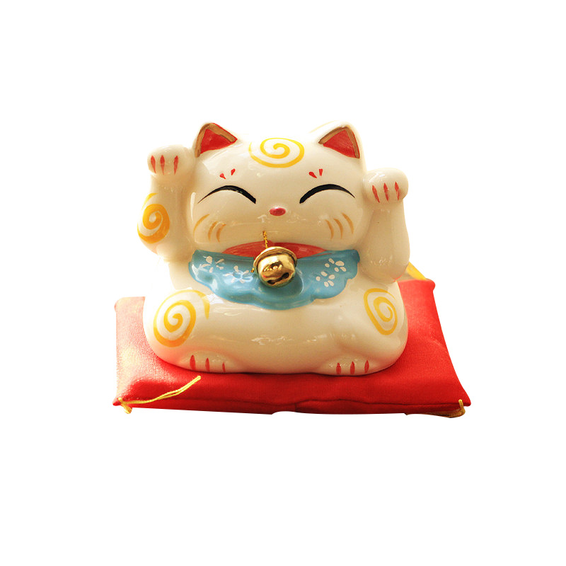 Ceramic Lucky Cat Piggy Bank Porcelain Ornament Fortune Cat Money Box Craft Birthday Gift Home Office Decor Figurines
