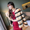 Best-selling winter women faux fox fur coats Fashion striped o-neck jackets Korean elegant ladies short paragraph spliced parkas