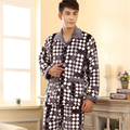 New winter Coral velvet pajamas Men 's fashion grid elements Collar type - square collar Formal Home clothing Flannel suit