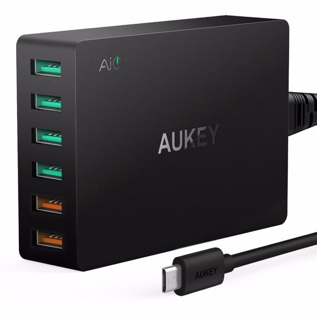 Aukey qualcomm carga rápida 3.0 6 puertos cargador rápido inteligente cargador de teléfono usb cargador de escritorio para xiaomi iphone samsung nexus lg