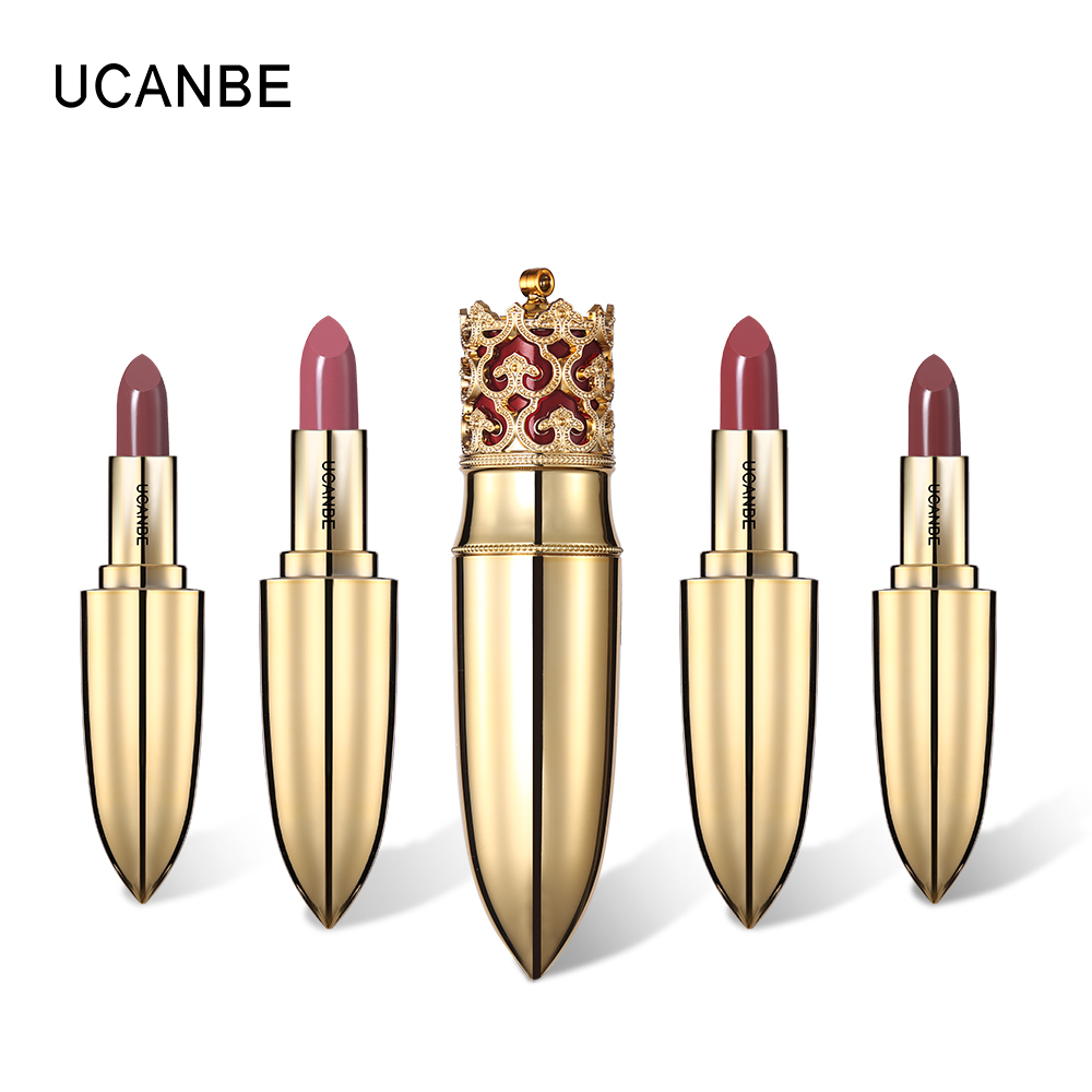 UCANBE Brand Crown Lipstick Luxurious Velvet Matte Gentle Pink Lip Stick Set Waterproof Moisturizer Batom Tint Red Lips Cosmetic