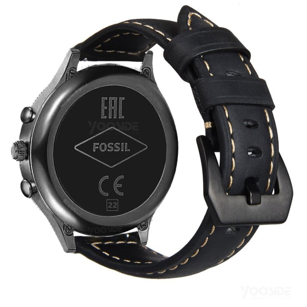22mm Quick Release Watch Band Genuine Leather WithMetal Buckle Wristband Strap For Fossil Gen 4/3 Explorist HR,Men's Gen 4 Sport