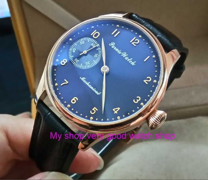 44mm PARNIS blue dial 17 jewels Asian 6497/3600 Mechanical Hand Wind movement men's watch Rose gold case Mechanical watch 391A free shipping deep sea generator set controller module p5110 generator control panel replace dse5110