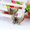 Retail 10Pcs Antique Bronze Filigree Butterfly Decoration DIY Wraps Connectors Embellishments Findings 4.3x2.8cm