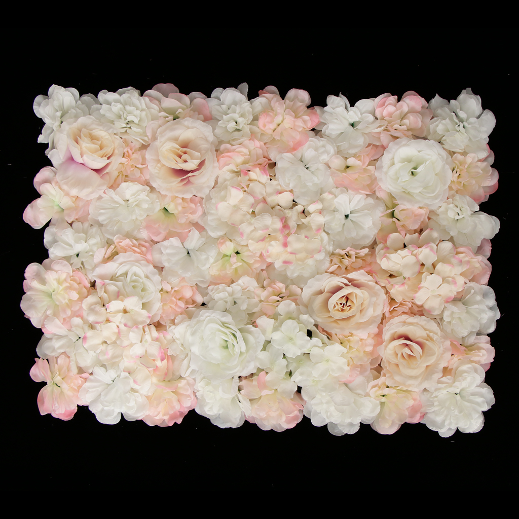 Pack Panels Artificial Silk And Of Decor Champagne 4 Rose White Wall Hydrangea Flower Backdrop Wedding
