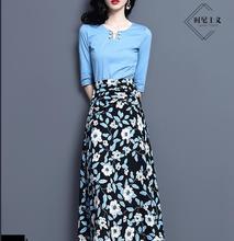 2019 女性 かわいいツーピースフランス少数民族 Tシャツトップラインのスカートを印刷春/夏