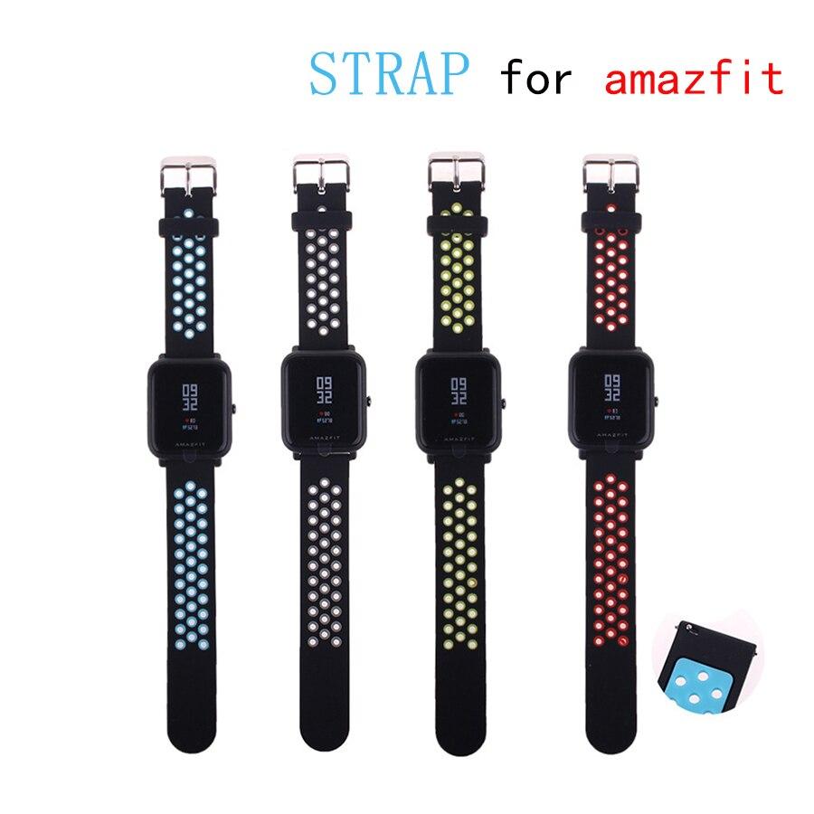 LAOKE Remplacer Double Couleur Silicone Montre Sangles pour Origine Xiaomi Huami Amazfit Bip PEU RYTHME Lite Jeunes Montre Smart Watch