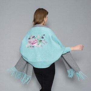 Image 3 - Женское пончо с вышивкой, теплое плотное пончо большого размера, мягкое уличное пончо высокого качества для осени и зимы