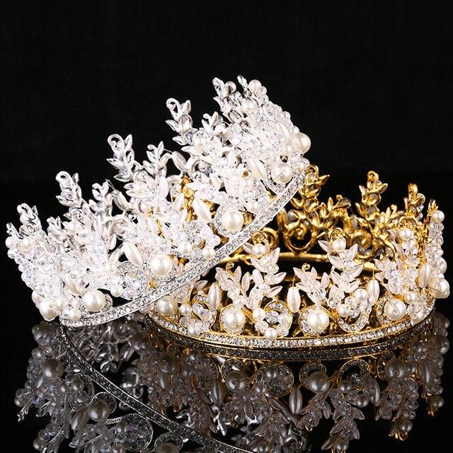 Hot Sale European Designs King Queen Crown Rhinestone Tiara Head