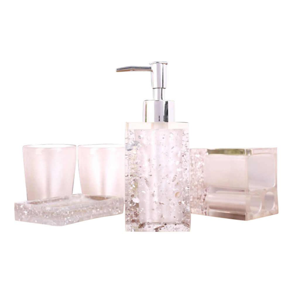 5 sztuk żywicy zestaw do kąpieli akcesoria łazienkowe mydelniczka + szczoteczka do zębów uchwyt + pompa dozownika balsamu + kubki HTQ99