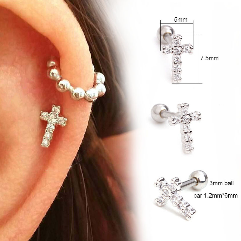 US $1 58 20% OFF|Sellsets 1Pc Small Cz Cross Cartilage Earring Tragus Stud  Rook Conch Earlobe Cartilage Helix Piercing Jewelry Screw Back Earring-in